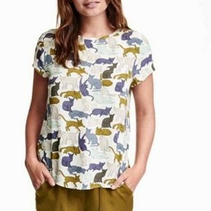 H&M Cat Print Short Sleeve Blouse (US 2)